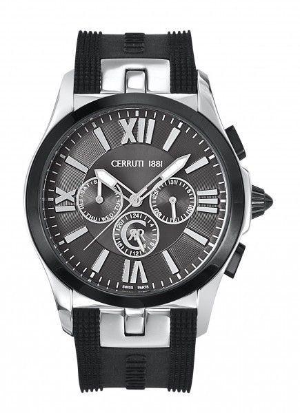 Wirstwatches CERRUTI Man Watch Chronograph 45MM Black Dial Silicone Black Strap