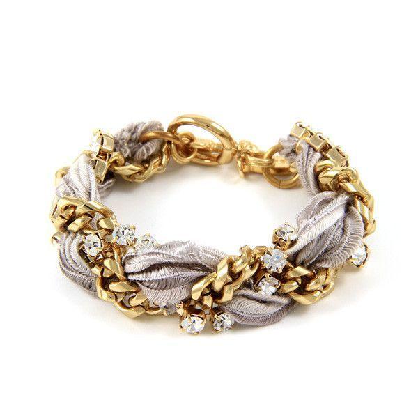 Grey Vintage Ribbon and Rhinestone Thick Chain Bracelet
