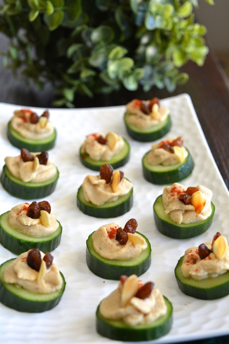 Cucumber hummus canap my signature dish yes i am for Gourmet canape ideas