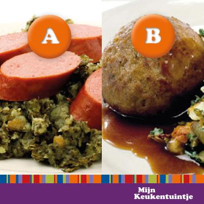 Wat eten jullie het liefst bij #boerenkool? Een lekkere rookworst of toch liever een gehaktbal?