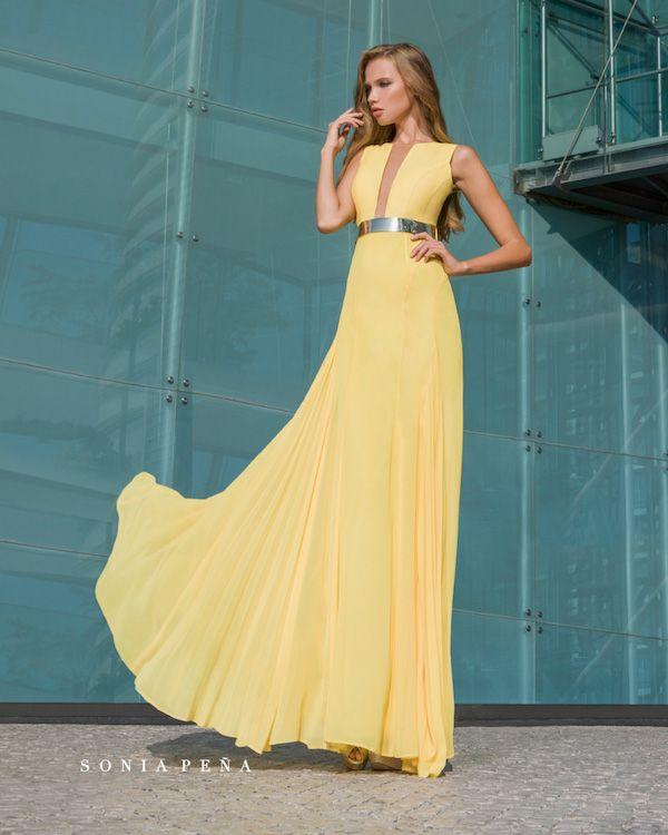 Vestidos De Fiesta Sonia Peña 2018 Amarillo Dresses Long Dress Fashion Clothes Women