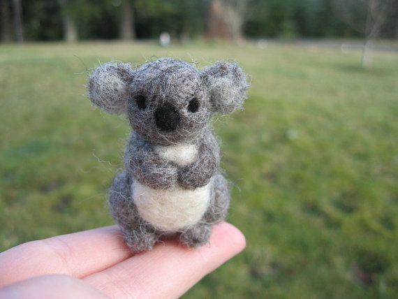 Needle Felted Koala Bear Miniature Figure by LittleElfsToyshop, $18.00