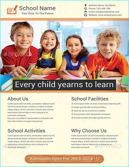 20 Professional Educational PSD School Flyer Templates - Daycare Flyer Template