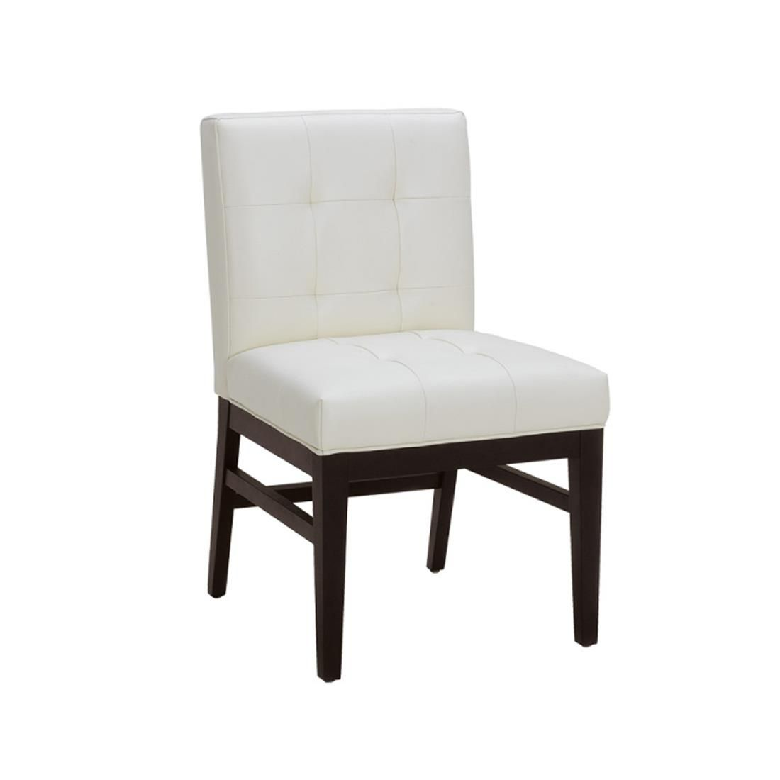 Bungalow White Leather Quilted Dining Chair