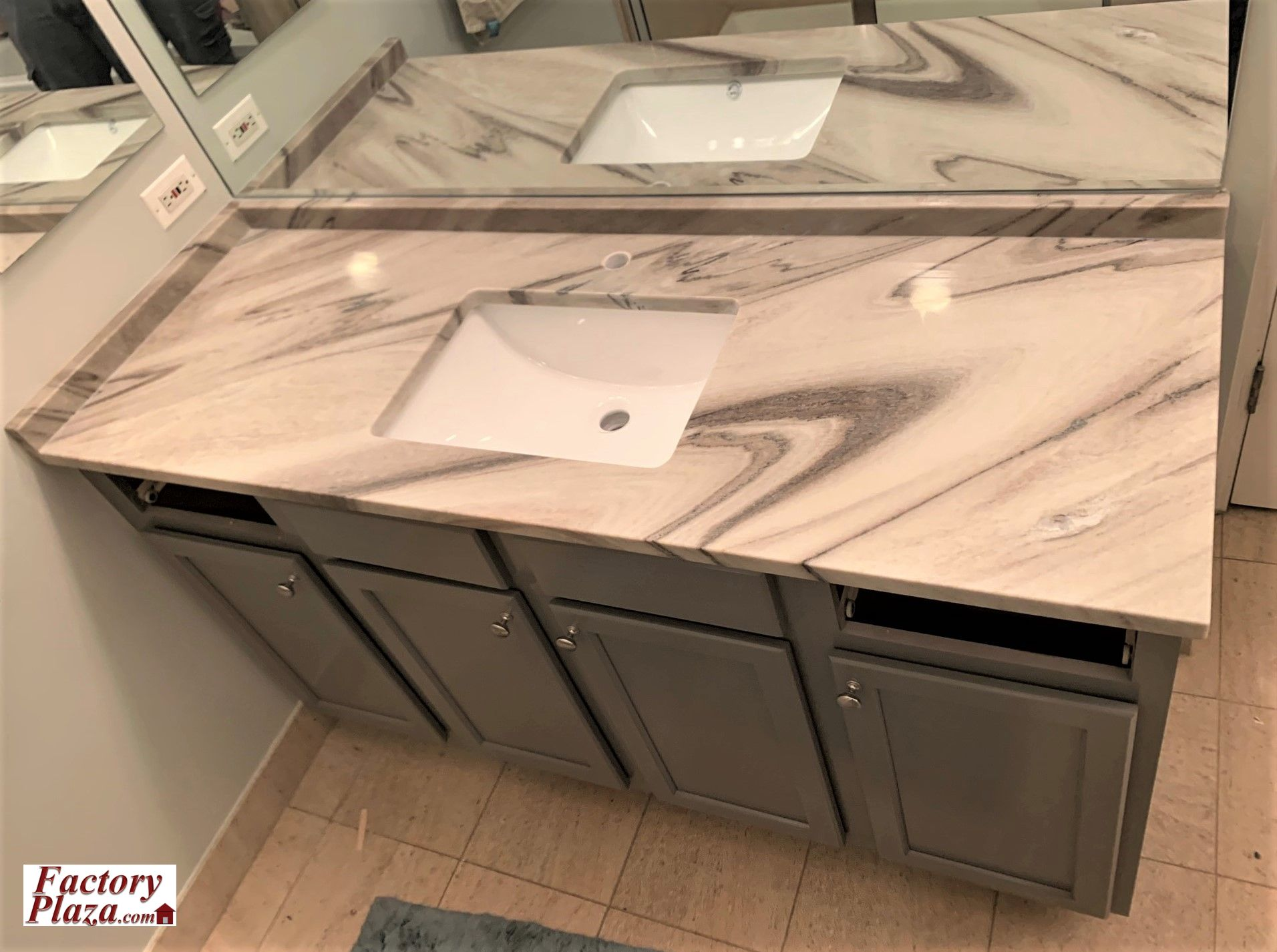 Factory Plaza measure, fabricate and install marble vanity