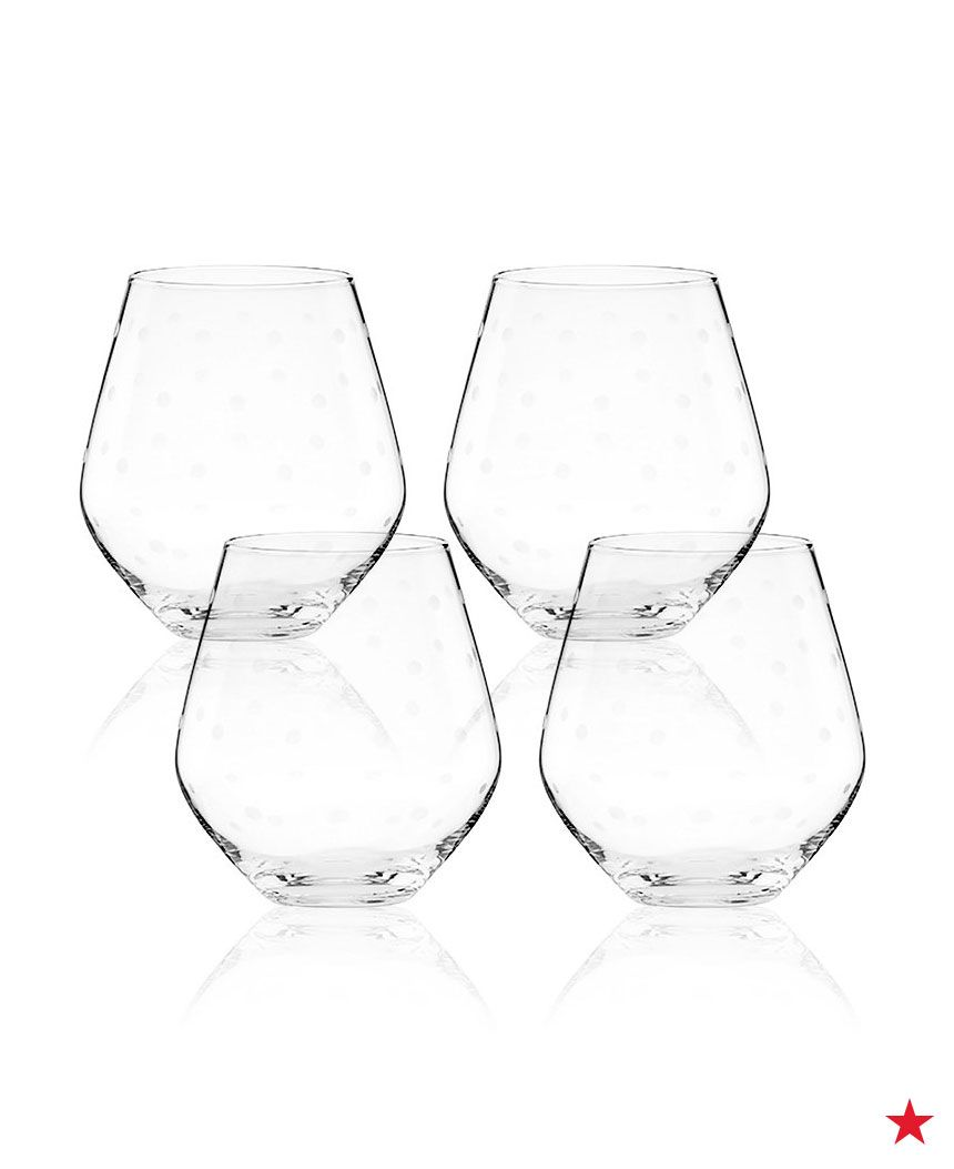So cute! Add a little whimsy to your next dinner party with these kate spade new york Larabee Dot stemless wine glasses.