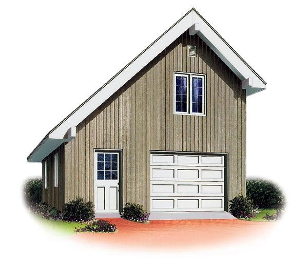 Car Garage Loft Retro Style: Saltbox Style 1 Car Garage Plan Number 65238
