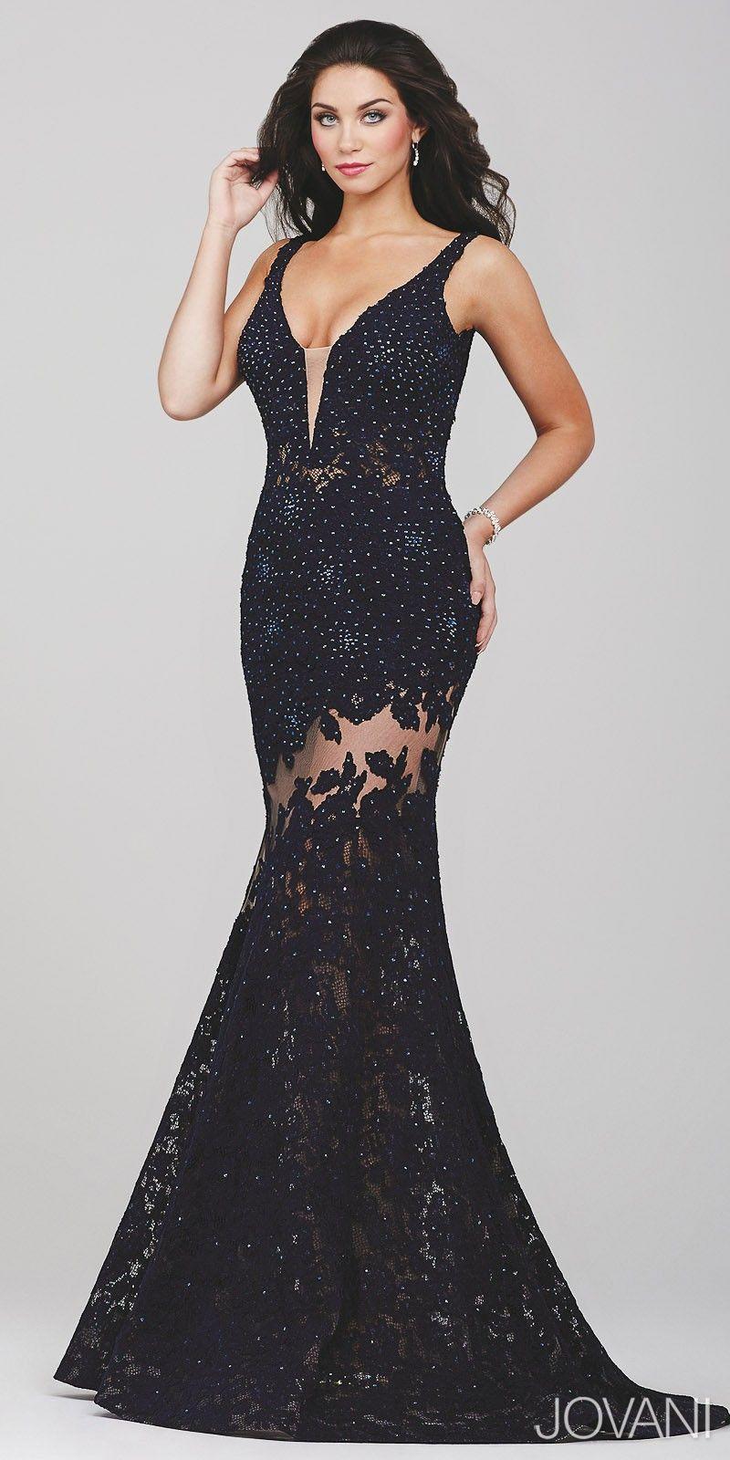 Sparkle lace illusion prom dress by jovani womenus fashion
