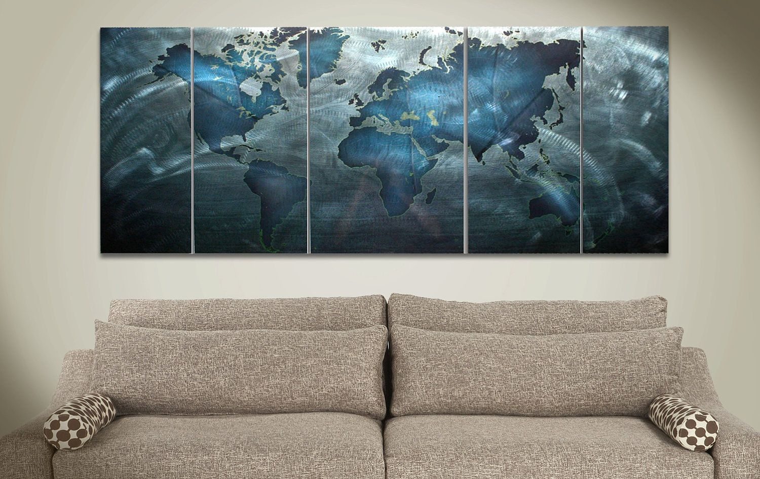 World map art modern wall painting land sea 48x19in wow ultra modern map wall art land sea 60x24in big metal painting contemporary blue modern world art 49000 via etsy gumiabroncs Image collections
