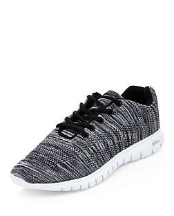 Dark Grey Knitted Trainers  | New Look