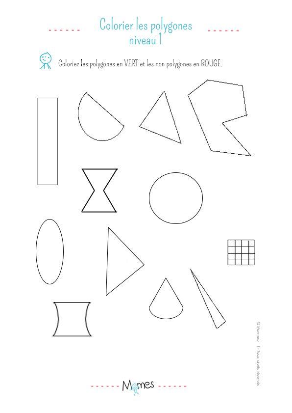 Colorier Les Polygones Exercice Niveau 1 Polygone Exercice De Geometrie Exercice Ce1