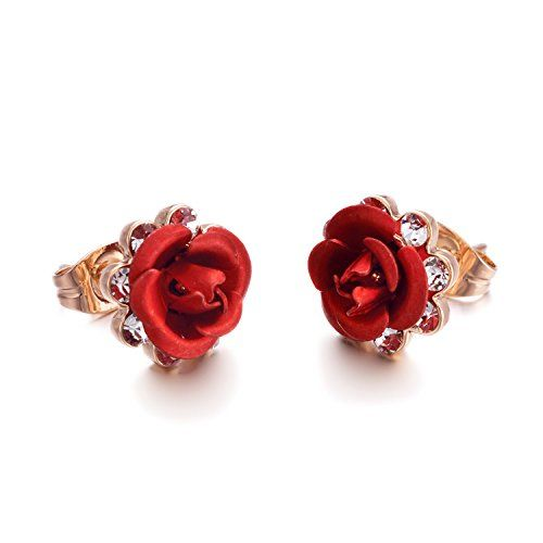 Yoursfs Red Rose Flower Stud Earrings 18k Gold Plated Simple Fashion Jewelry For Women Be S Flower Earrings Studs Gold Jewelry Fashion Womens Earrings Studs