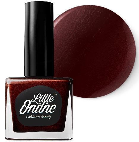 Enchanting A glossy but muted dark metallic red with a