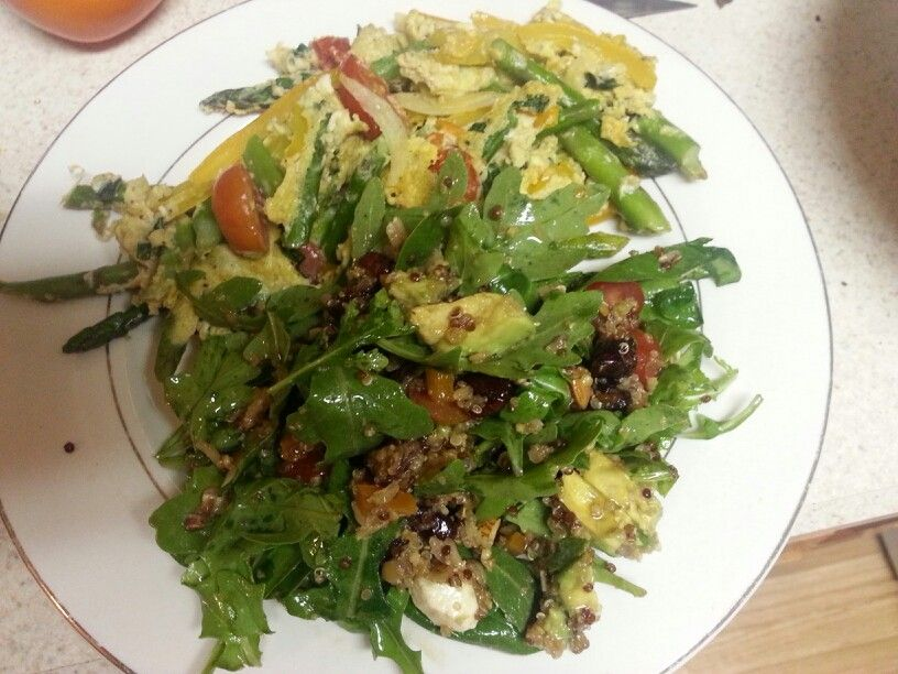 Mmm quinoa, avocado, yellow bells, fresh mozzerella, craisins, grape tomatoes, asparagus,