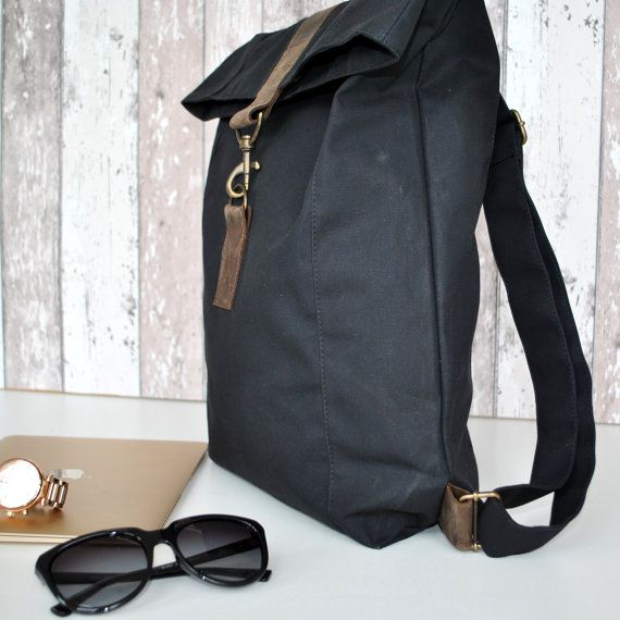 Black canvas Backpack, water resistent,with brown leather, Men ...
