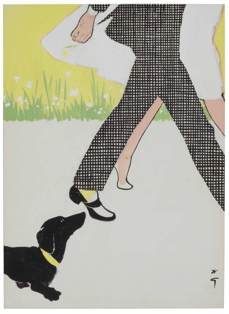 Ilustración para la portada de 'International Textiles' por Rene Gruau, 1956.