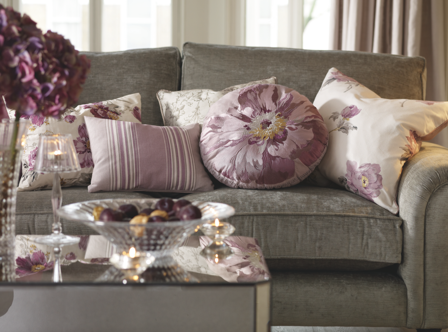 Peony amethyst collection lavender roomlavender and grey living