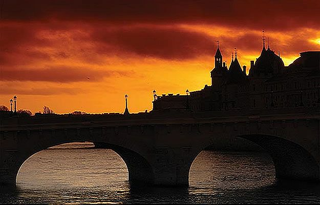 Stone Bridge at Sunset Mural