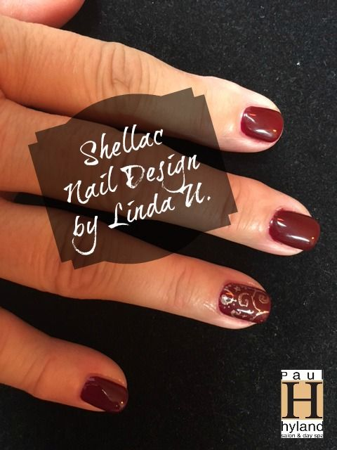 CND Shellac Oxblood with feature nail art. Design by Linda U. | Our ...