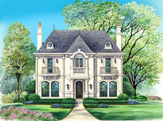 Potomac French Country House Plan Narrow Lot House Plans Brick Exterior House Exterior