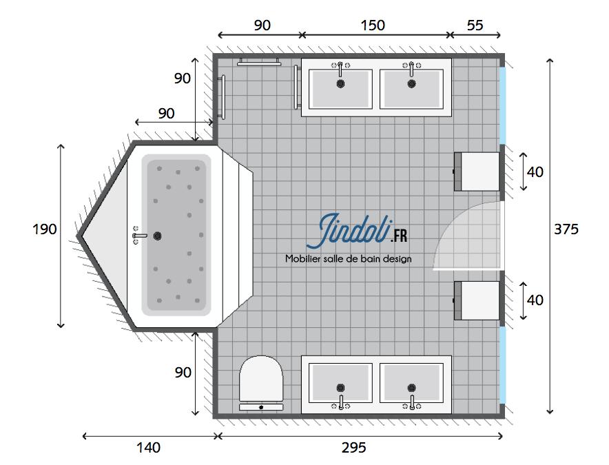 Bon Exemple Plan De Salle De Bain De 12,9m2