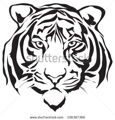 Download Vector Tiger Silhouette Tiger Face Tiger Drawing