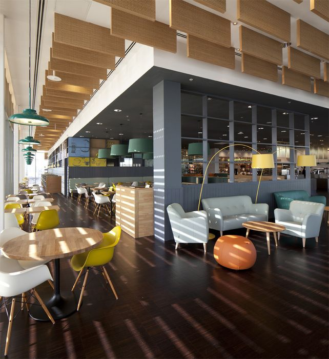 30 Restaurant Interior Design Color Schemes: Looks Almost Like Wood Clad Acoustic Clouds