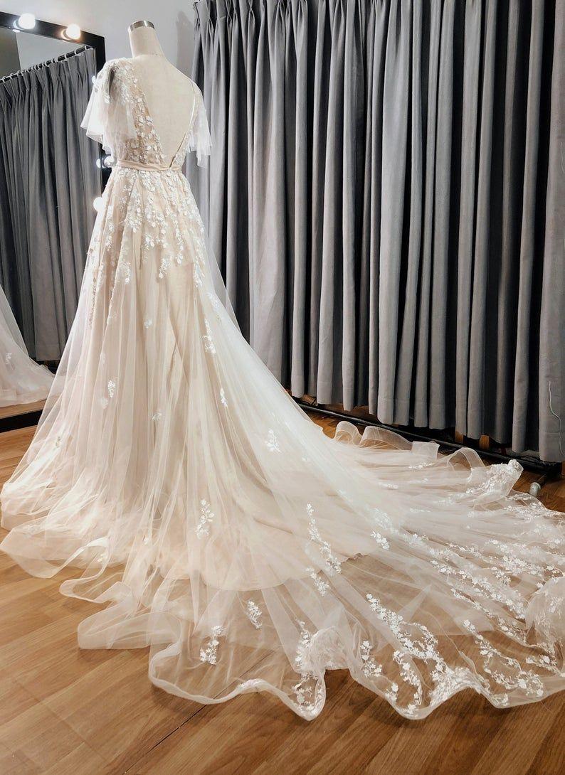 Sophia Vintage Blush Wedding Dress With Flutter Sleeve Open Etsy Blush Pink Wedding Dress Vintage Blush Wedding Long Wedding Dresses [ 1090 x 794 Pixel ]
