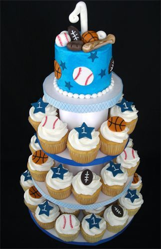 AllStar Sports Cake Cupcake Tower Cakes by Kim Pinterest