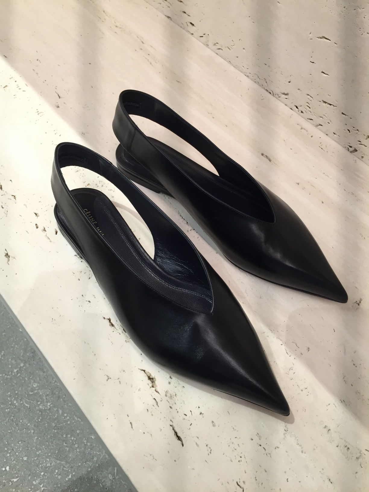 56ae1a0763f pointed toe sling back flats from Celine