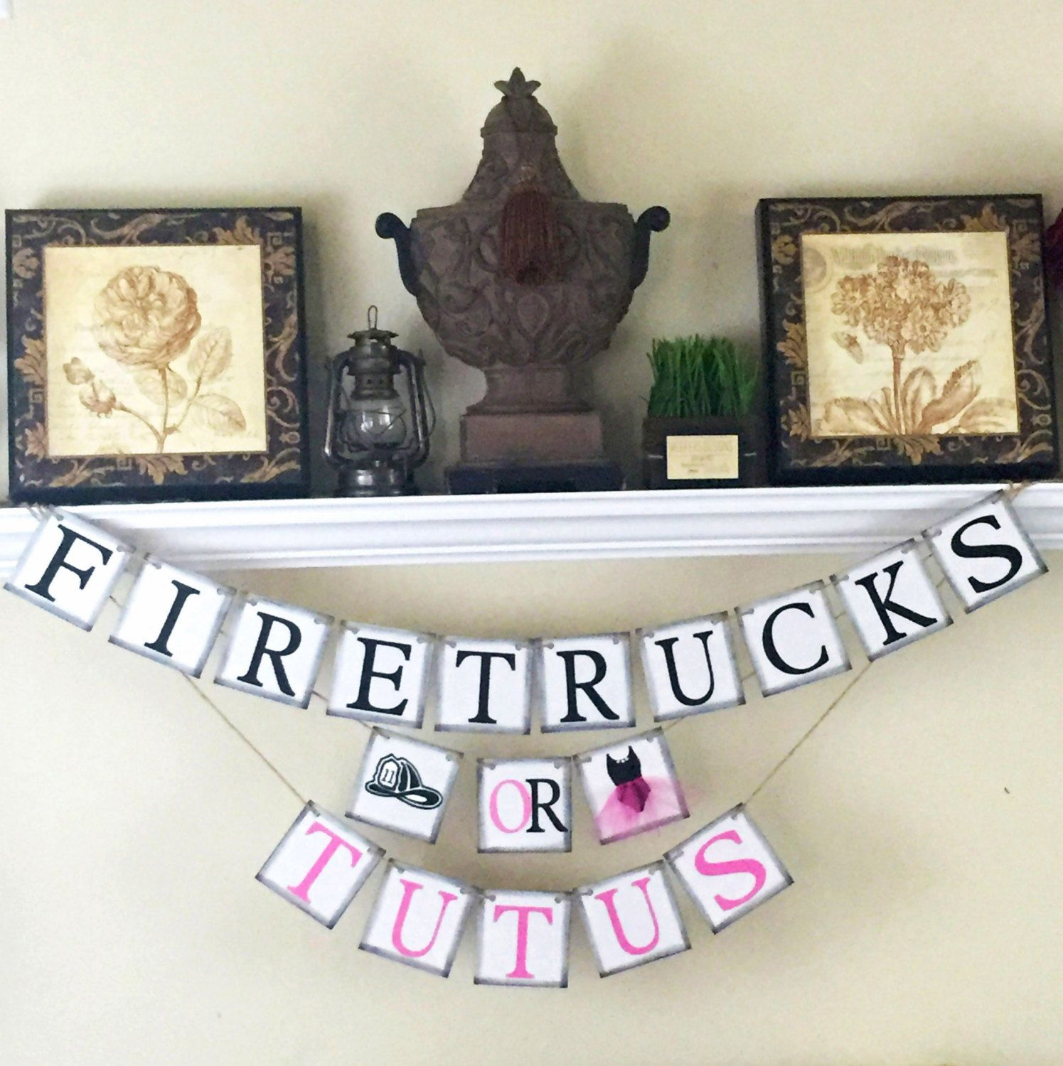 Gender Reveal Banner Firetrucks Or Tutus Baby Shower Decorations Gender Baby Reveal Party Decorations Baby Reveal Party Reveal Ideas