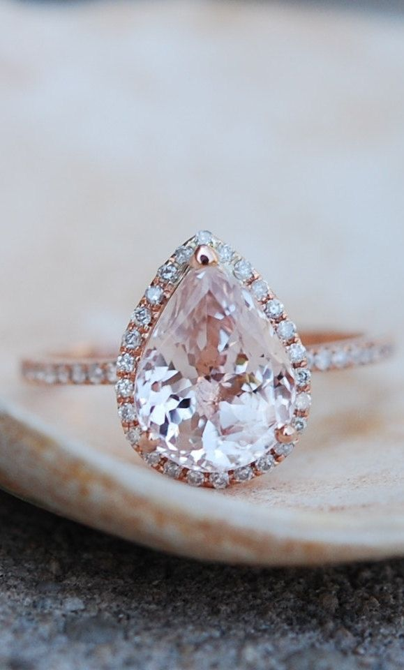 Engagement Ring Peach Champagne Sapphire In Rose Gold White