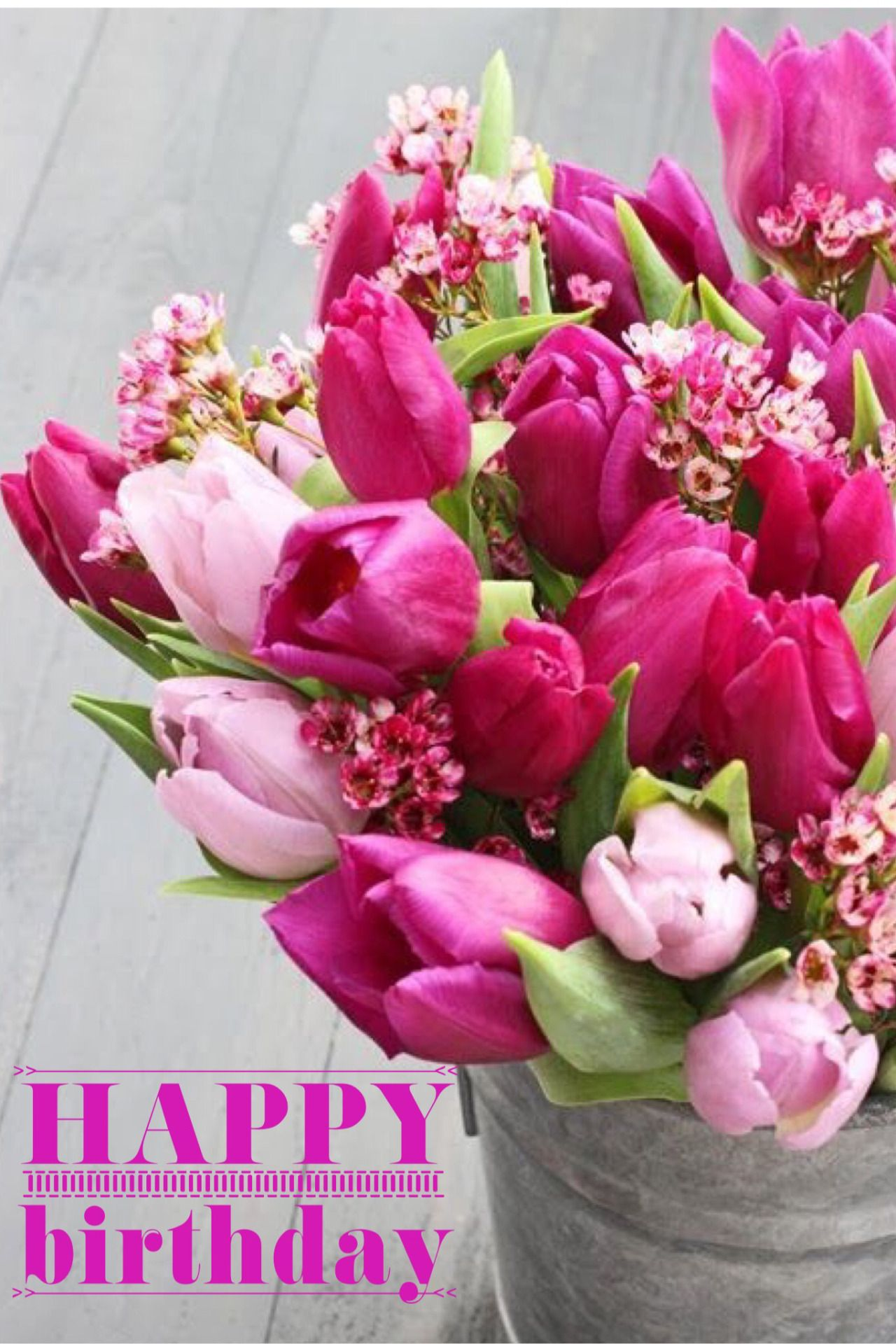 Happy Birthday Pink Bucket Tulip Bday In 2018 Pinterest