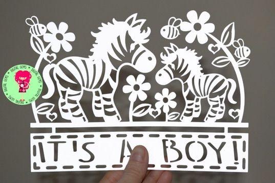 It's A Boy Zebra Paper Cut SVG / DXF Cutting Files By Digital Gems