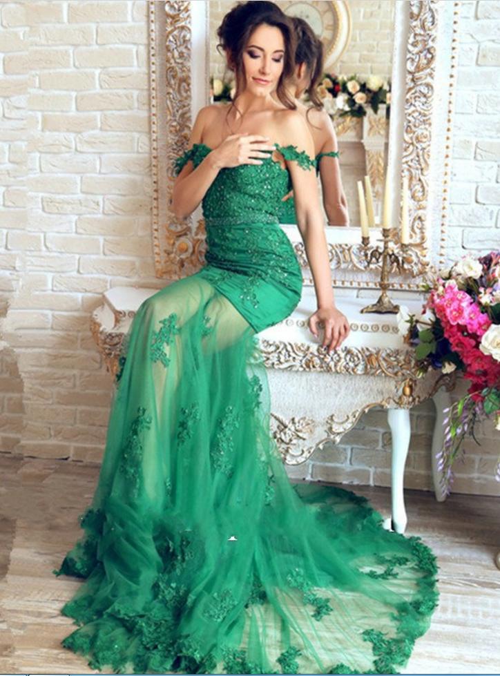 Mirusponsa Beautiful Emerald Green Lace Mermaid Evening Dresses Robe ...