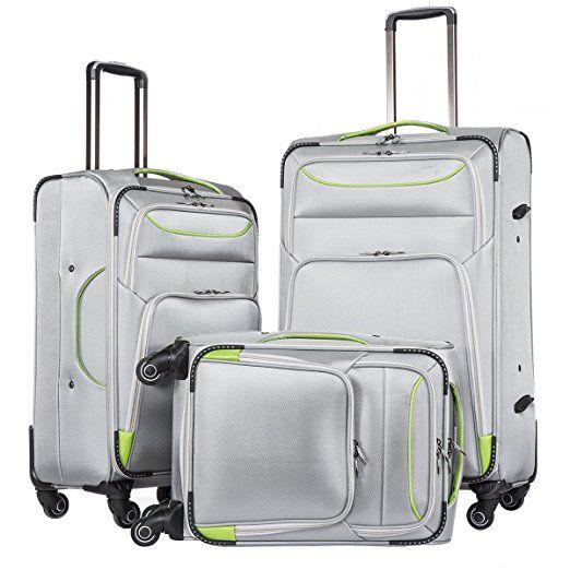 Charmant Amazon.com | Coolife Luggage 3 Piece Set Suitcase Spinner Softshell  Lightweight (black+