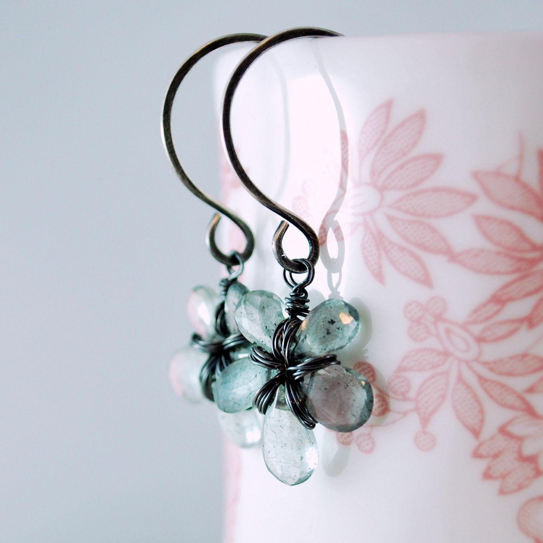 Moss Aquamarine Earrings Wire Wrapped Flower Oxidized Silver Jewelry ...