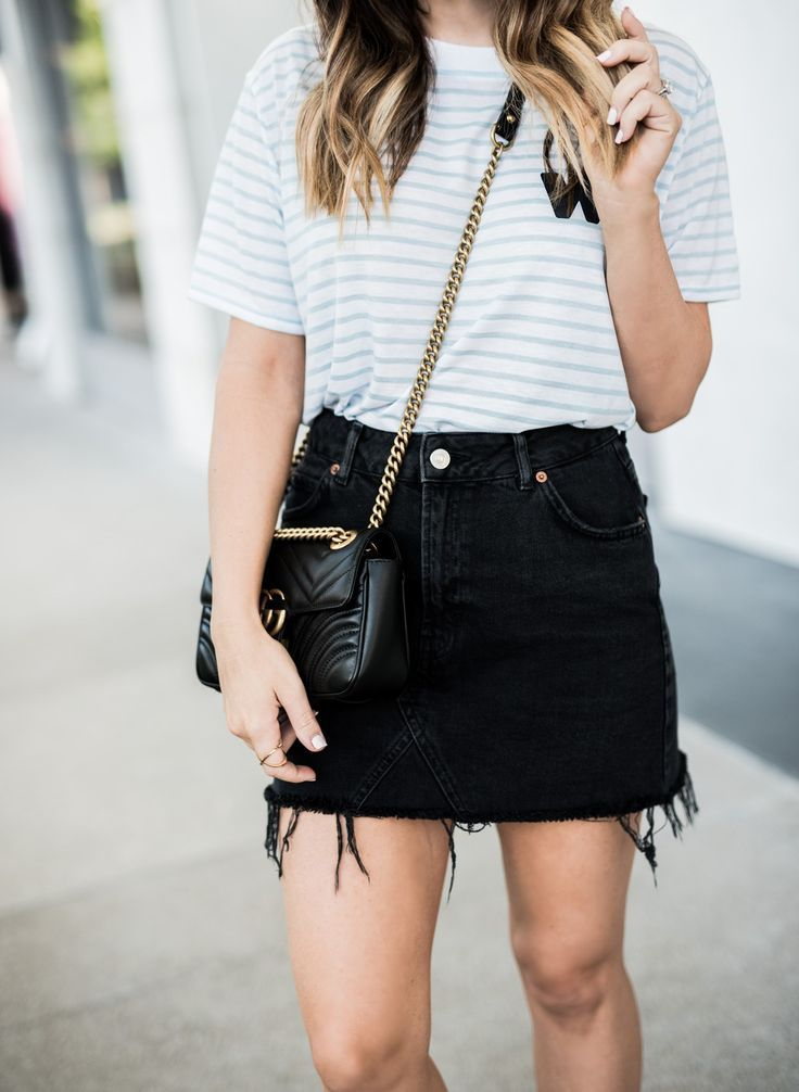 Tiffany Jais Houston fashion and lifestyle blogger | T-shirt obsessed,  platform oxfords, gucci Marmont b… | Classy skirt outfits, Classy skirts,  Denim skirt outfits