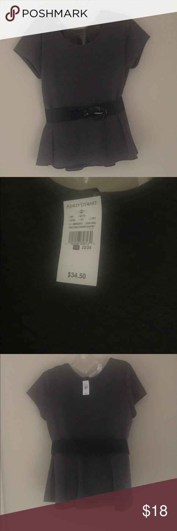 b2cfbd6cd6 Gray Peplum Belted Blouse Ashley Stewart gray peplum blouse with elastic  and patent leather belt. NWT. Size 22 24 Ashley Stewart Tops Blouses
