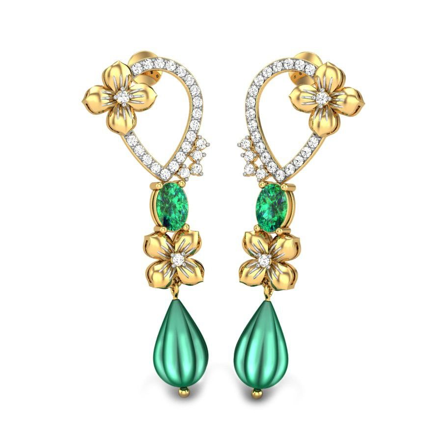 Green onyx with diamonds and gold used perfectly in a floral inspiration through…