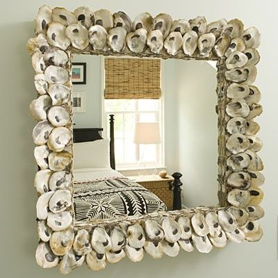 Oyster shell mirror frame