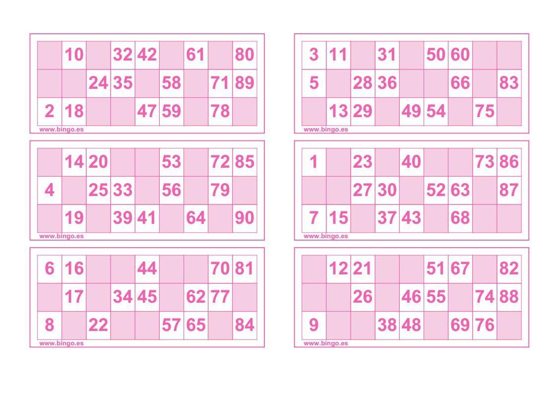Cartones Rosas Bingo Para Imprimir Cartones De Bingo Cartas De Bingo