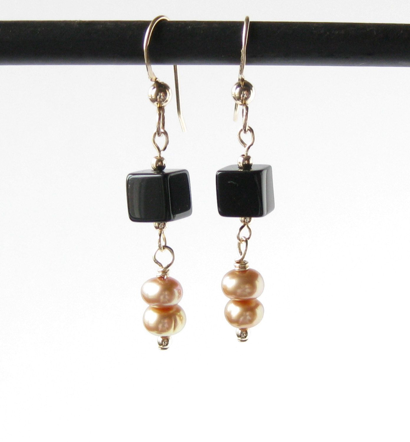 Black Glass and Freshwater Pearl Earrings on 14k Gold Filled Wires ...