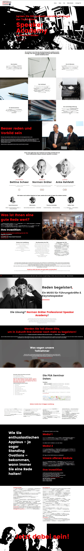 Webdesign für eine Bildungsakademie für Speaker. Gestaltung umfasst Bilder und Design. Die Texte kamen vom Auftraggeber.