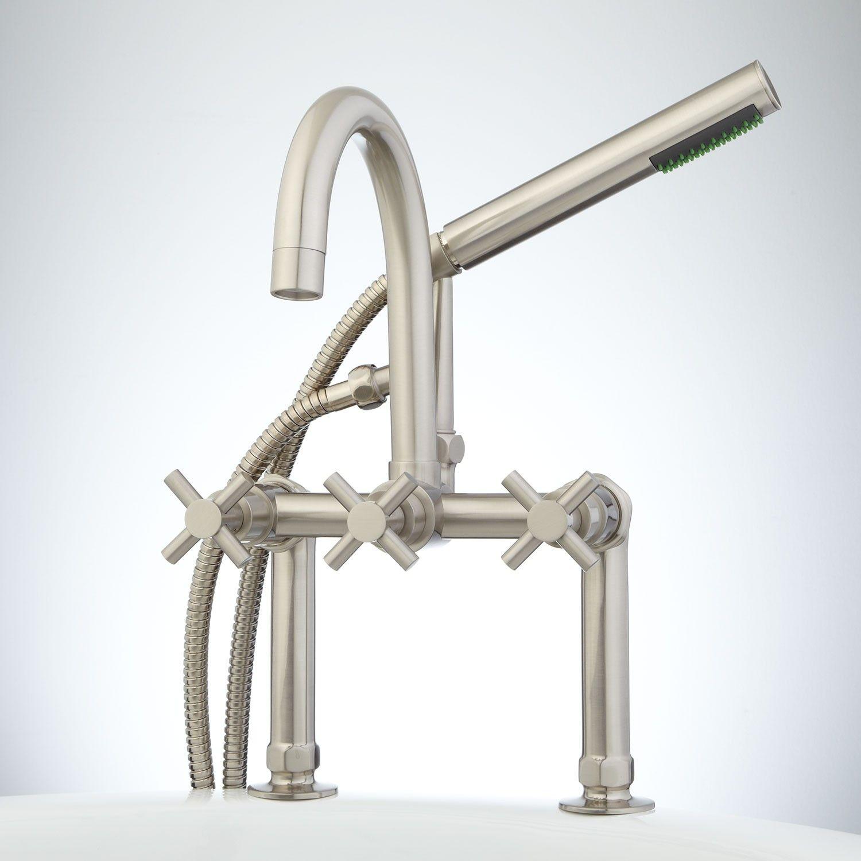 Bathroom faucet deck mounted brass bath spout modern bathroom faucets - Sebastian Deck Mount Gooseneck Tub Faucet With Hand Shower Cross Handles Tub Faucets