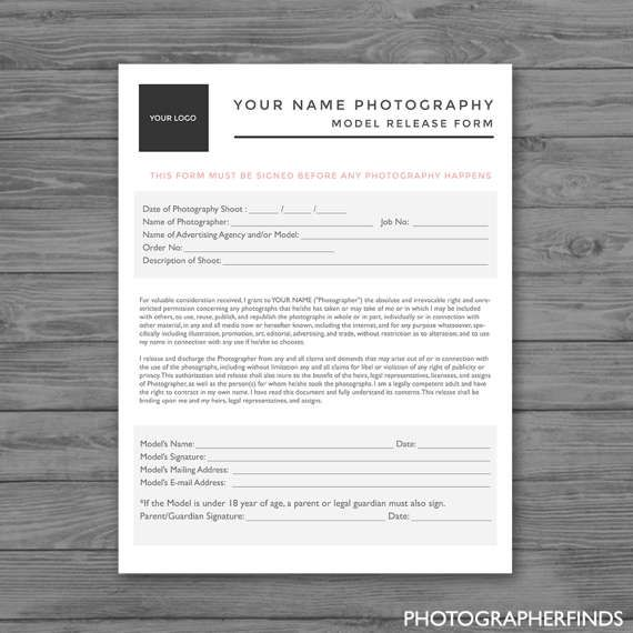 Model Release Form - Photoshop Template for Photographers - PSD - model release form