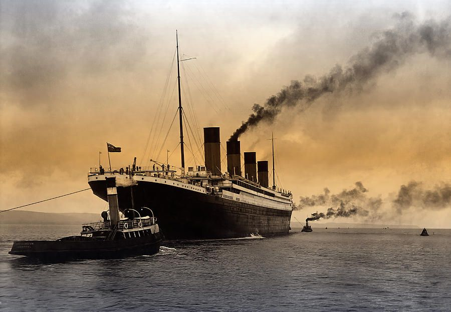 Titanic Photograph - Titanic Leaves Harbor 1912 by Daniel Hagerman