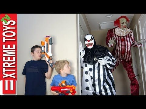 Killer Clown Attack Ethan And Cole Nerf Battle Vs A