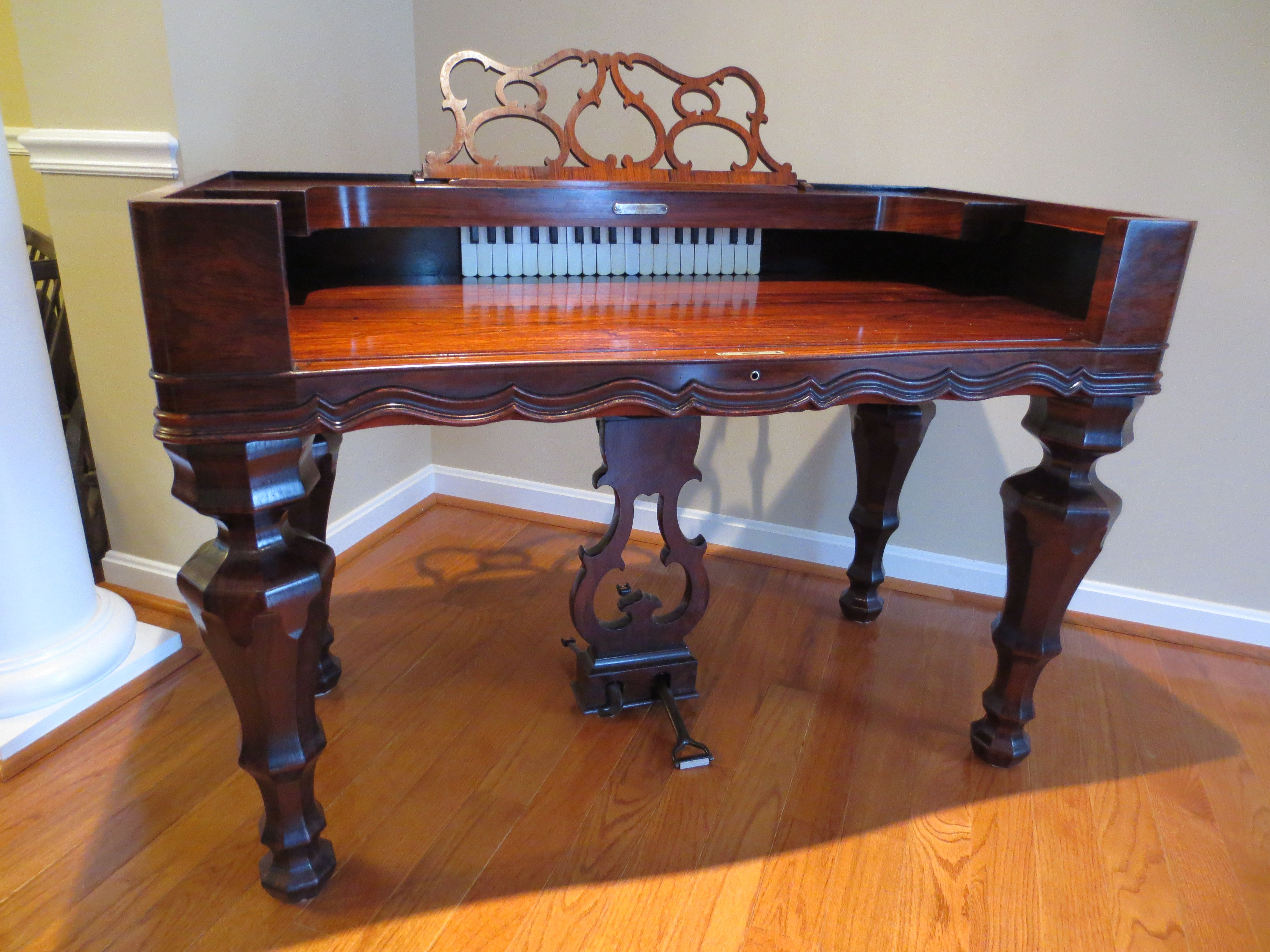 c 1860 treat linsley melodeon rosewood organ desk writing desk