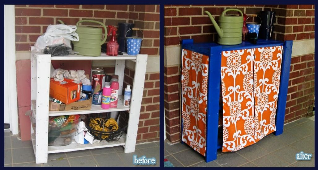 Before and after cheap plastic shelf for storage painted for Outdoor storage ideas cheap